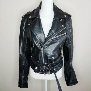 Black Vegan Leather Jacket Heavy Duty Kfashion XS